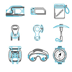 Flat line icons for mountaineering equipment