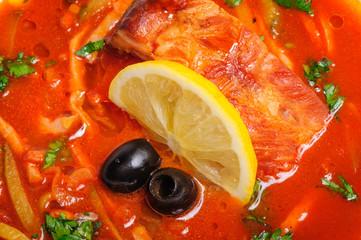 Russian and Ukrainian soup solyanka