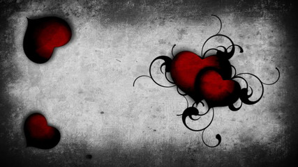 Bloody red hearts on a wall background