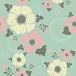 """Turquoise  vintage pattern """"Nostalgic flowers"""""""