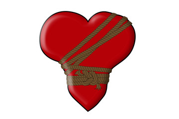 Tied heart with rope on white background