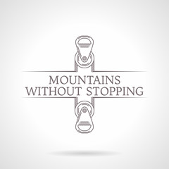 Abstract illustration of climbing pulley icon with text