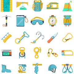 Colored icons collection for rock climbing