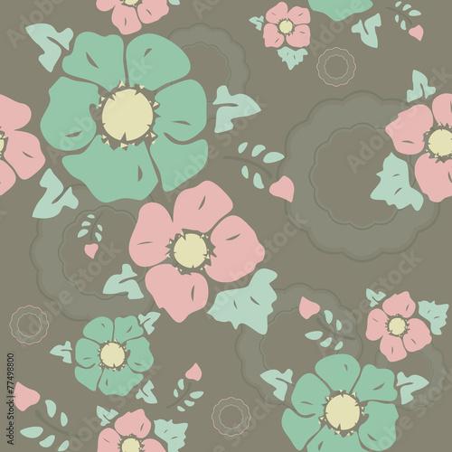 """Dark  vintage pattern """"Nostalgic flowers"""""""