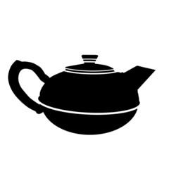 Old style black teapot