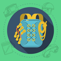 Flat design illustration for rock climbing. Rucksack