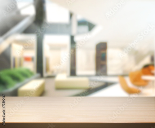canvas print picture Wood Table  Top Background In Office 3d render