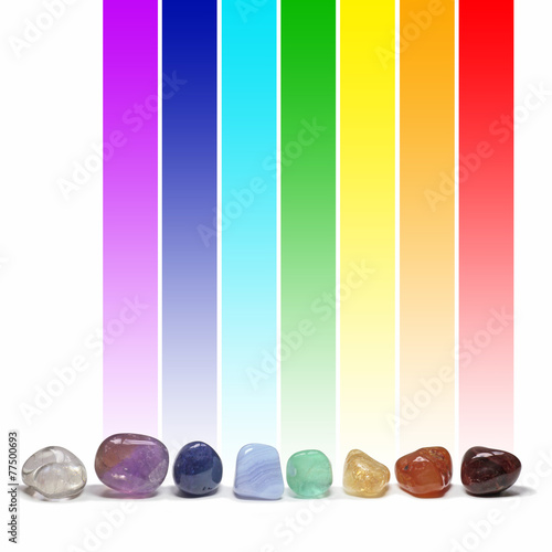Poster Edelsteen Chakra healing crystals and their colors