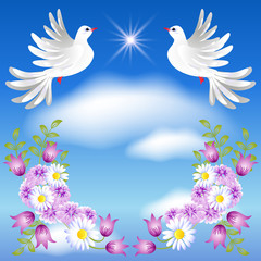 Two white doves in the sky