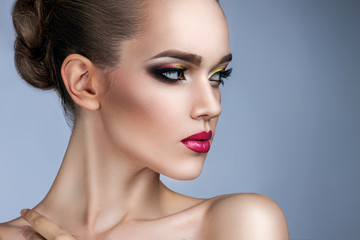 beautiful woman with bright makeup portrait