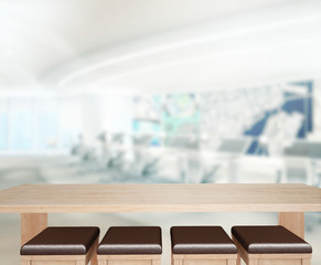 Wood Table  Background in Office 3d render