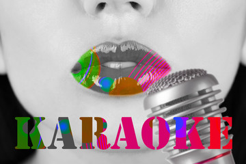 Woman and retro microphone, karaoke concept