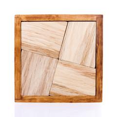 Wooden Tangram on White Background