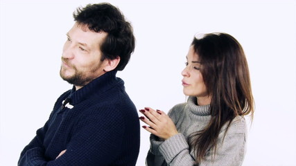 Man forgiving girlfriend isolated slow motion