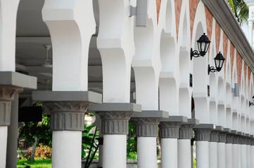 Architectural detail at Kuala Lumpur Jamek Mosque in Malaysia