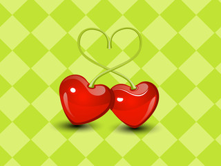 Sweet two Cherry hearts valentine