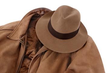 Fedora and calfskin jacket