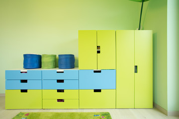 Colorful furniture inside a room