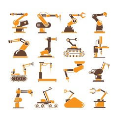 robotic arm icons, robot icons