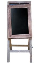 Blank art board, wooden easel, front view,