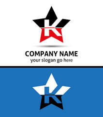 Letter K logo with star icon