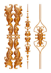 Gold jewelry ornament design on white background.