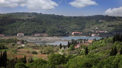 Panoramic shot of the nice small bay near Piran
