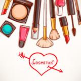 Fototapety background with decorative cosmetics