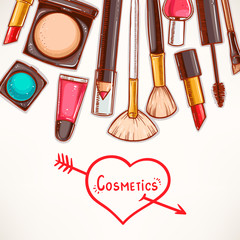 background with decorative cosmetics