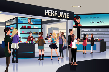 Shoppers shopping for cosmetic in a department store