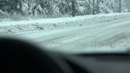 The road next to the forest with a lot of slush