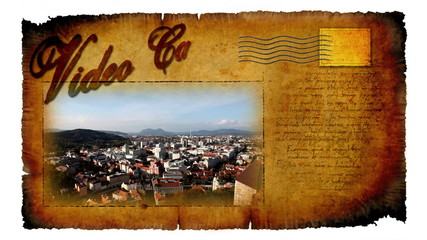 Video card with moving picture of Ljubljana city in Slovenia with chimney in front