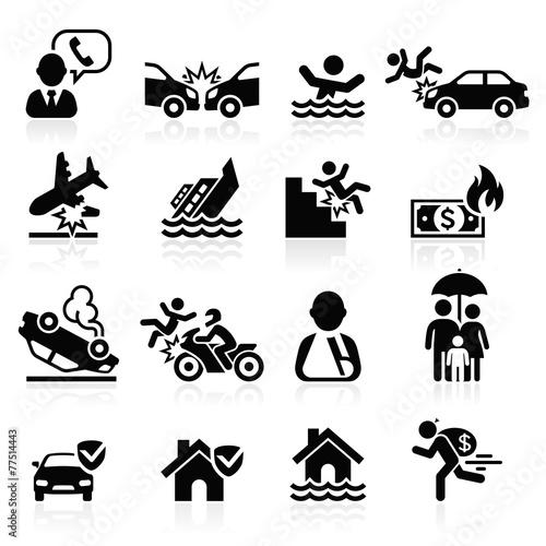 Zdjęcia na płótnie, fototapety, obrazy : Insurance icons set. Vector Illustration.