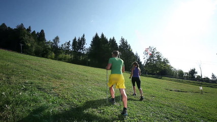 extreme sport activity with jogging in the nature