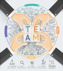 Business hands teamwork infographics template.