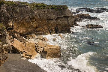 eroded cliffs in Paparoa National Park