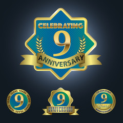 Celebrating 9 Years Anniversary - Blue seal with golden ribbon