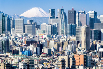 Tokio w zimie z Fujiyama w tle