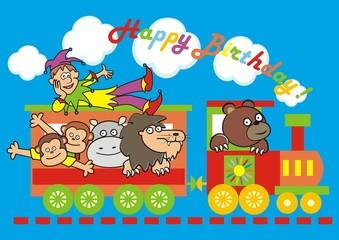 locomotive and animals, birthday
