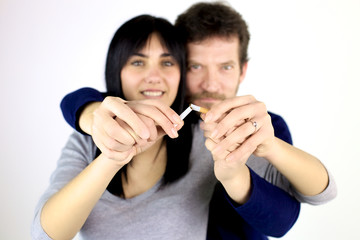 Couple in love deciding to stop smoking