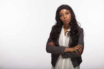 African American black woman serious face portrait