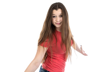 Portrait of confused teenage girl