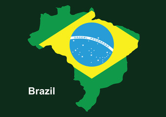 Brazil map with flag inside, Brazil map vector
