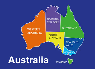 Australia map with cities inside, australia vector, aussi
