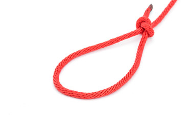 Red rope with knotted