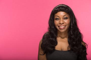 African American black woman smile happy face portrait