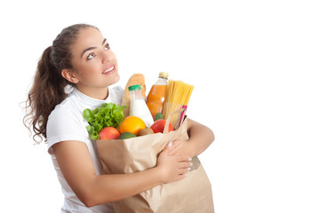 Happy Young Woman Carrying a Shopping Bag