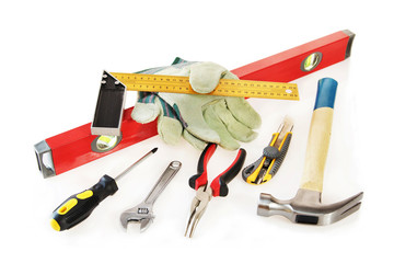 Small working tools  over white background