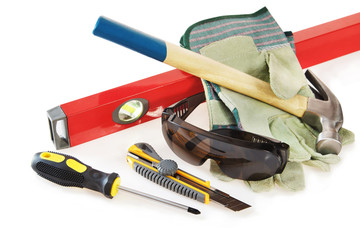 Some protective things and working tools  over white background