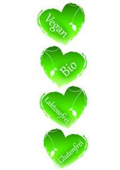 Vegan, Bio, Laktosefrei, Glutenfrei - Herzen